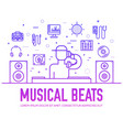 set dj sound and lighting suppliers line icons vector image vector image