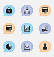 set of 9 editable analytics icons includes vector image vector image