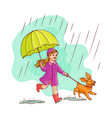 sketh teen girl walking umbrella rain dog vector image