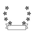 stars with ribbon banner isolated black and white vector image vector image