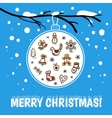 Template of Merry Christmas card with glass ball vector image
