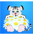 tiger with flowers vector image