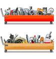 toolbox cart with car parts