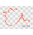 uterine cancer awareness month peach color ribbon vector image