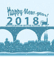 winter landscape with words happy new year 2018 vector image vector image