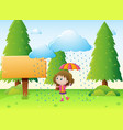 wooden sign template with girl in the rain vector image vector image