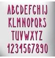 Hand drawn narrow pink alphabet vector image