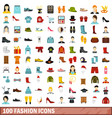 100 fashion icons set flat style vector image