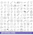 100 voyage icons set outline style vector image vector image