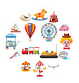 amusement park icons set flat style vector image vector image