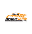 automotive speed car with flame logo vector image