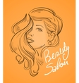 beautiful young woman with long hair vector image