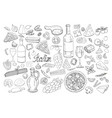 big hand drawn italian food collection vector image vector image