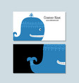 blue whale business cards design vector image vector image