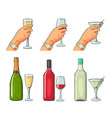 bottle and glass cocktail liquor wine champagne vector image