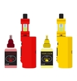 Bright vape devices set Vaping juice in bottle vector image vector image