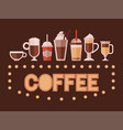 cappuccino espresso and mocha takeaway drinks vector image vector image