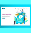 card phishing website landing page design vector image
