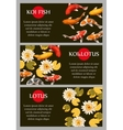Cards with koi fish and lotus vector image vector image