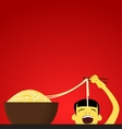 Chinese child eats noodles vector image vector image