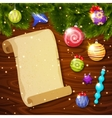 Christmas Baubles And Paper Sheet vector image