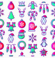 christmas seamless pattern with thin line icons vector image vector image