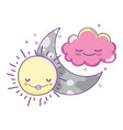 clouds and moon cute cartoons vector image vector image