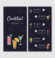 cocktail menu template alcoholic bar menu with vector image