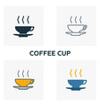 coffee cup icon set four elements in diferent vector image