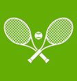 crossed tennis rackets and ball icon green vector image vector image