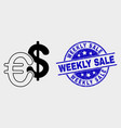 currency icon and scratched weekly sale vector image vector image
