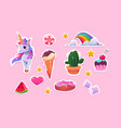 cute stickers for girls cartoon unicorn ice cream vector image