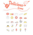 delicious icons set on white vector image vector image