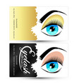 eyelashes and eyebrows salon business card vector image