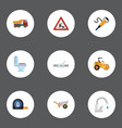 flat icons steamroller roll meter caution and vector image vector image