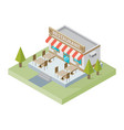 flat isometric restaurant building with tables vector image