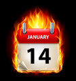 fourteenth january in calendar burning icon on vector image vector image