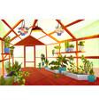 greenhouse interior with garden inside orangery vector image vector image
