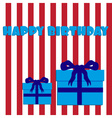 happy birthday with red and white stripes and blue vector image vector image