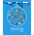 Happy New Year 2017 card with glass ball vector image vector image