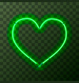 heart-shaped bright green neon frame template on vector image vector image