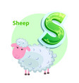 letter s for sheep cartoon alphabet for children vector image