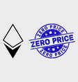 line crystal icon and distress zero price vector image vector image