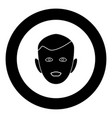 little boy face black icon in circle isolated vector image