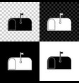 mail box icon isolated on black white and vector image
