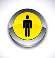 Male 3d button vector image vector image