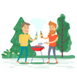 men drinking and frying meat on picnic vector image vector image