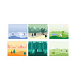 natural landscape set winter spring summer vector image