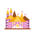 pink fairy tale castle with golden roof vector image vector image