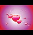 Pink glossy hearts vector image vector image